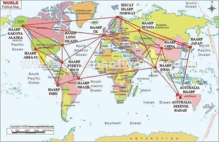 HAARP installaties wereld kaart