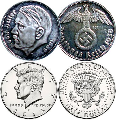 US eagle coin & Nazi eagle coin